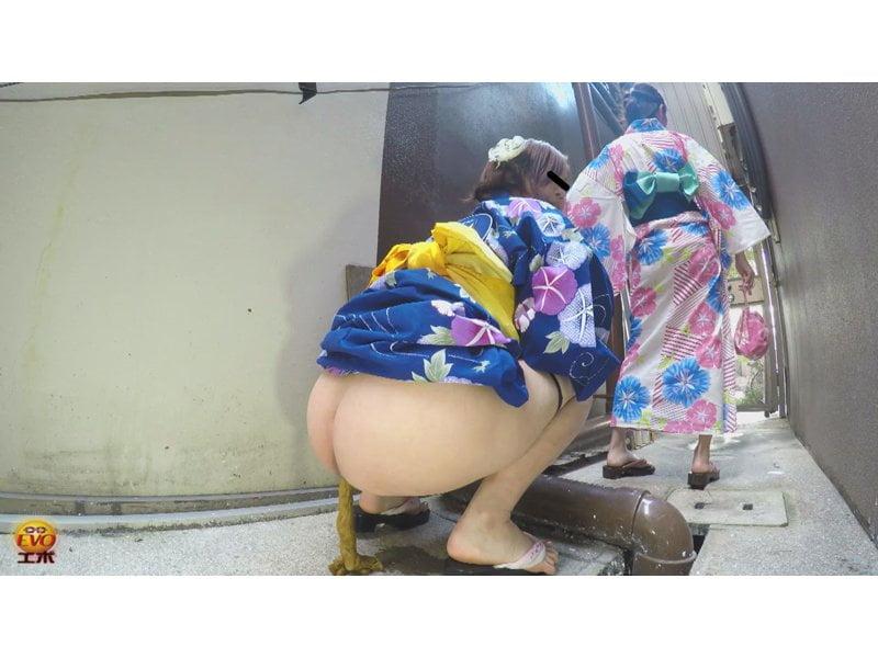 【排便盗撮】緊急事態!浴衣美女のお腹イタイ大便 その9