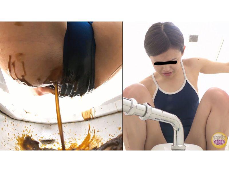【排便盗撮】水着のまま便所に猛ダッシュ!スク水女子校生たちのお腹イタイ下痢便 その7