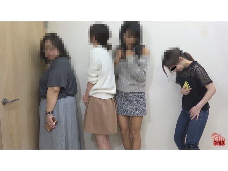 行列のできる女子便所観察 待ちきれず小便お漏らしする女性たち その16